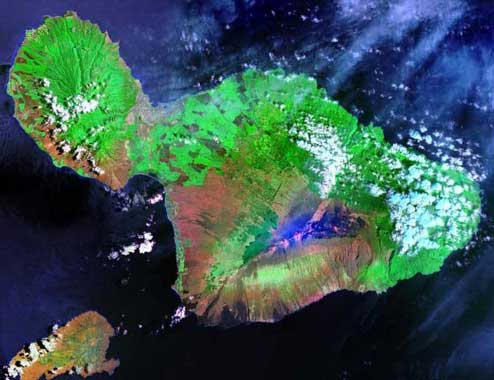 Satellite image of Maui island